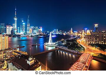 beau, shanghai, scène, nuit