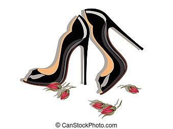 beau, shinning, noir, chaussures