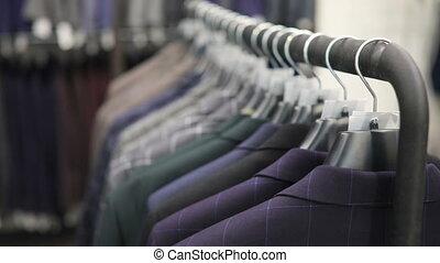 beau, shop., rang, hommes, collection, hangers., vestes, ...