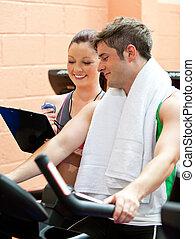 beau, sien, personnel, centre, entraîneur, exercisme, athlète mâle, vélo, fitness