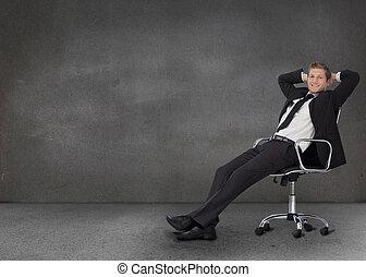 beau, sien, pivot, reposer, chaise, homme affaires
