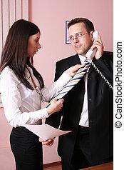 beau, sien, portion, cravate, homme affaires, secrétaire