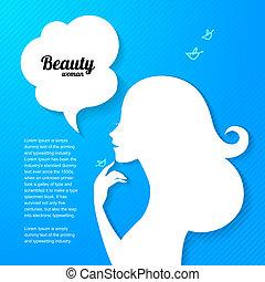 beau, silhouette, applique, conception, fond, girl, ton