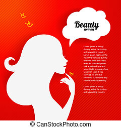 beau, silhouette, applique, fond, girl, ton, design.