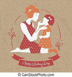 beau, silhouette, elle, mère, day., mère, fille, carte, heureux