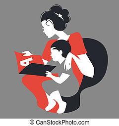 beau, silhouette, mère, book., mère, bébé, lecture, jour,...