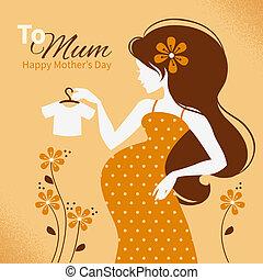 beau, silhouette, mère, vendange, pregnant, fond, cartes, woman., jour, heureux