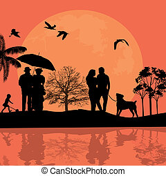 beau, silhouette, paysage, gens