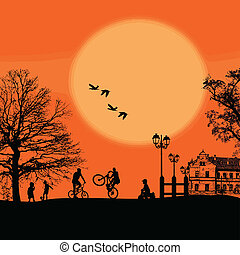 beau, silhouettes, childrens, paysage