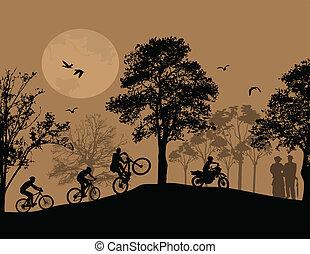 beau, silhouettes, cyclistes, paysage