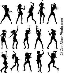 beau, silhouettes, femmes, danse