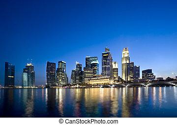 beau, singapour, cbd, à, crépuscule