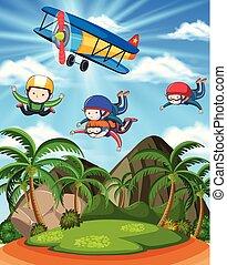 beau, skydiving, sur, paysage, gens