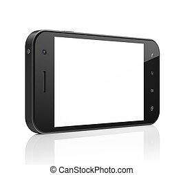 beau, smartphone, générique, render., arrière-plan., téléphone portable, blanc, intelligent, 3d