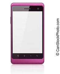 beau, smartphone, render, arrière-plan., générique, téléphone portable, blanc, intelligent, 3d