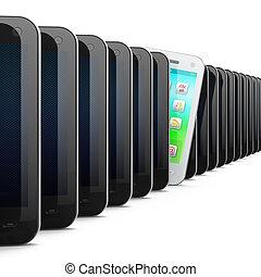 beau, smartphone, téléphones, noir, blanc, rang