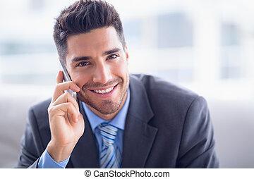 beau, sofa, sourire, appareil photo, appeler, homme affaires, bureau, confection, séance