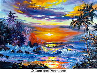 beau, soir, mer, paysage