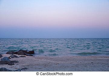 beau, soir, mer