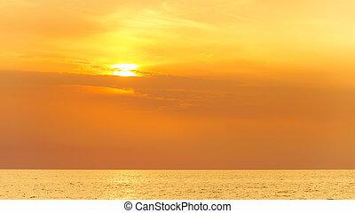beau, soir, mer, sky., marine, horizon