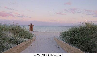 beau, soir, plage, coloré, sunset.