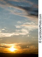 beau, soleil, aube, ciel