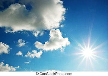 beau, soleil, ciel, nuages