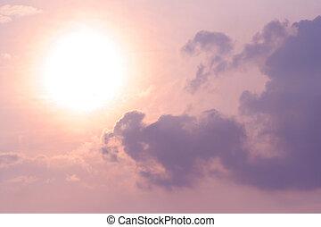 beau, soleil, nuages, ciel
