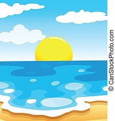 beau, soleil, plage, vue