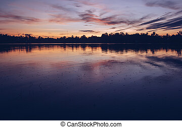 beau, soleil, soir, rivière, lumière