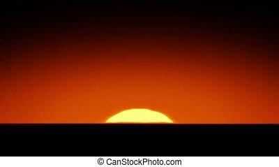 beau, soleil, sur, levée, horizon.