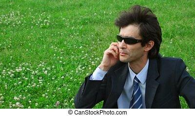 beau, soleil, téléphone, lunettes, parler, homme