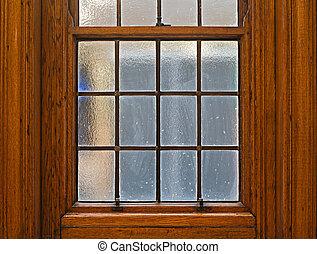 beau, solide, chêne, glissement, fenêtre, écharpe