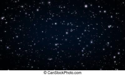 beau, sombre, fait boucle, hd, animation., flares., space., scintillement, noir, profond, étoiles, nuit, ultra, 3840x2160., 4k