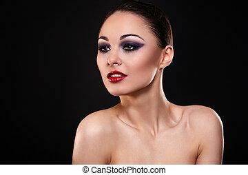 beau, sombre, mode, maquillage, clair, élevé, lèvres, brunette, look.glamour, portrait, sexy, girl, rouges