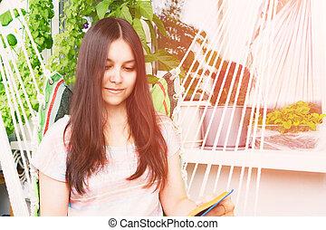 beau, sombre, séance, longs cheveux, lit, hamac, girl, livre, balcon