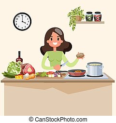 beau, soupe, femme, cuisine, cuisine