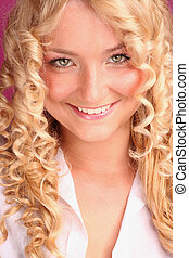 beau, sourire, blond, girl