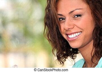 beau, sourire, femme, closeup
