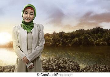 beau, Sourire, femme, musulman