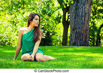beau, sourire, herbe, sitted, adolescent