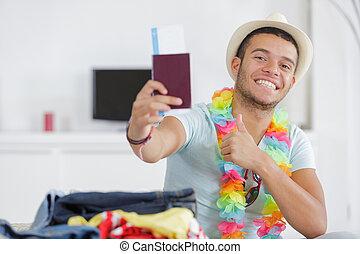 beau, sourire, spectacles, homme, chapeau, pouces-vers haut