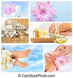 beau, spa, collage., masage