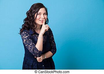 beau, spectacles, bleu, portrait, 1, robe, asiatique, doigt, femme