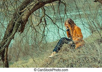 beau, spring., parc, hipster, portrait, girl, dépression