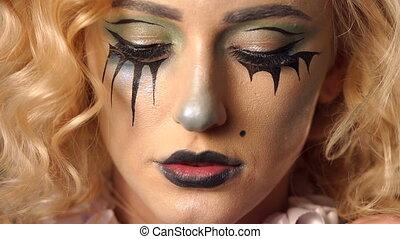 beau, squelette, elle, face., halloween., jeune, maquillage, portrait, girl