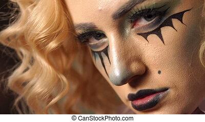 beau, squelette, elle, face., jeune, maquillage, portrait, girl