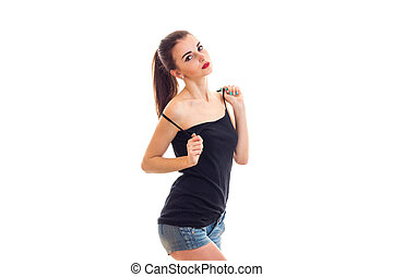 beau, stands, short, mince, t-shirt, appareil photo, noir, devant, girl