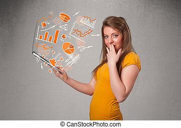 beau, statistiques, graphiques, cahier, tenue, dame