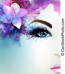 beau, straight., femme, lumière, résumé, fleurir, jeune, regarde, hair., décoré, orchidée